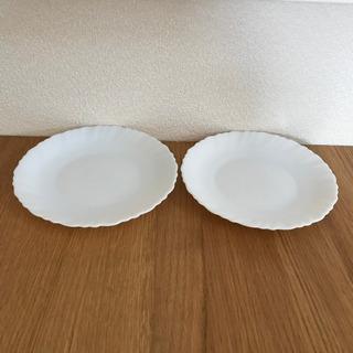 フランス製 白 プレーン 皿 2枚 18.5cm