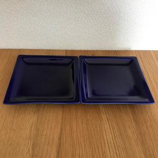 未使用 群青 四角 皿 2枚 15cm