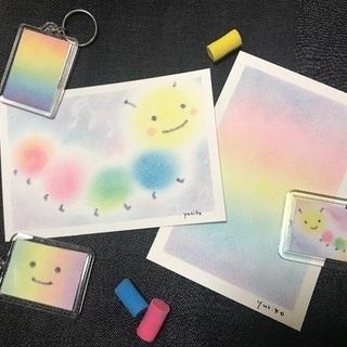 3色パステルアート®で描く「ぐるぐるいもむし」と虹色キーホルダー