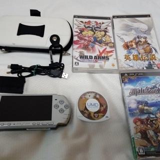【中古】PSP3000(銀) + ソフト4本