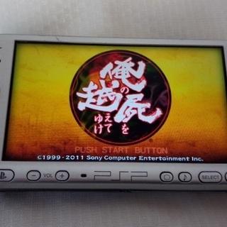 【中古】PSP3000(銀) + ソフト4本 - 豊島区