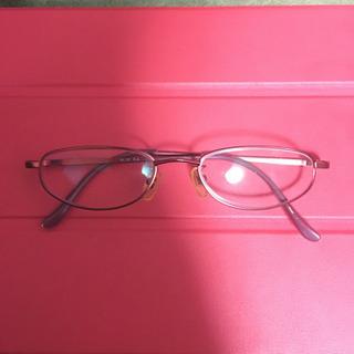 赤色メガネ アルミ 度入り 使用感あり