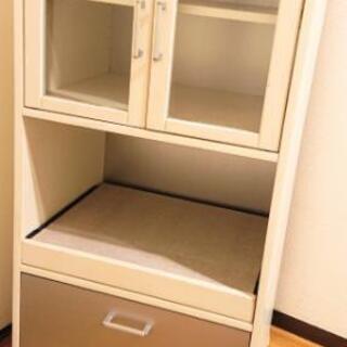 コンパクト 食器棚 飾り棚 レンジ台 炊飯器 スライド 引き出し 収納