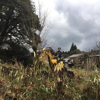 荒れた庭、農地などの木の抜根や整地作業