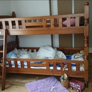 木製二段ベッド 解体済み 階段付き 中古 引き取り歓迎