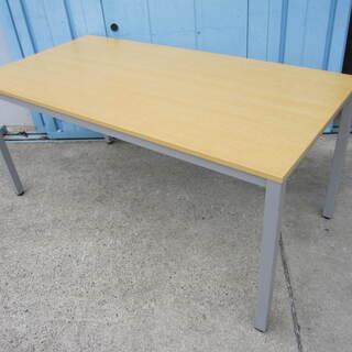 会議テーブル W1500 D750 木目ナチュラル色 4本脚