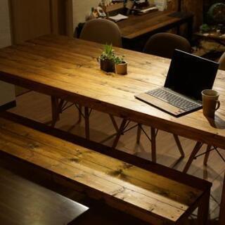無垢木製8人掛けダイニングテーブル&ベンチの画像