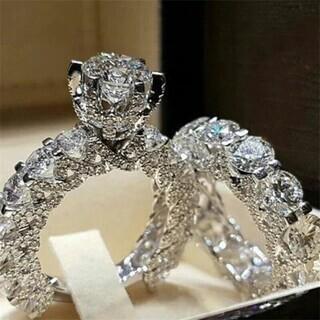 クリスタルダイヤモンドダブルリング