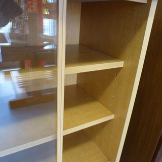小型食器棚 ガラス引き戸 コンパクト ナチュラルキャビネット ¥2,800- - 札幌市