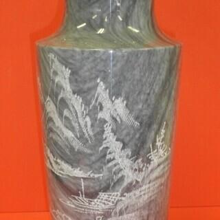 大理石 壺 置物 山水画 花瓶 花器 傘立て オブジェ 玄関飾り