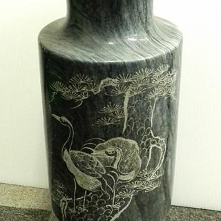 大理石の壺・置物 鶴&松 ☆ 花瓶 花器 傘立て オブジェ 玄関...