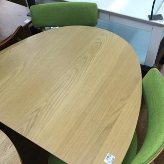 ダイニング3点セット 関家具 テーブル1×イス2 ナチュラル×グリーン