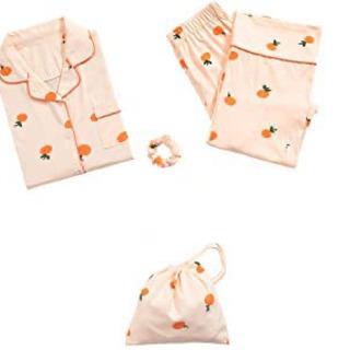 新品 可愛いオレンジ柄ルームウェア Lサイズ 4点セット