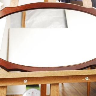2088 木製フレーム 鏡 楕円形 ミラー 壁掛け 愛知県岡崎市...