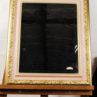 2090 木製フレーム ロココ調 鏡 ピンクゴールド ミラー 壁...