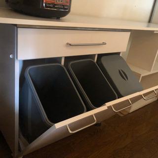 ゴミ箱付き収納棚(ホワイト)