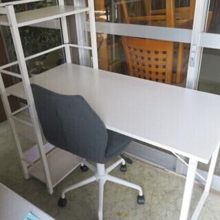 学習机 棚付き 椅子付き 白