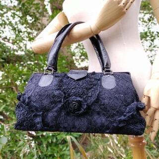 【最終値下げ】黒いレースがゴージャスなバラのハンドバッグ
