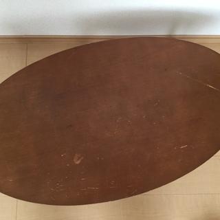 木製 楕円形 ローテーブル 折りたたみ式