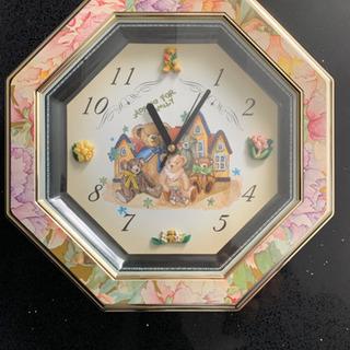 八角形 掛け時計 花柄 クマ ピンク おしゃれ かわいい