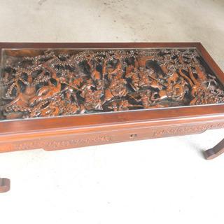 木彫りのテーブル・骨董