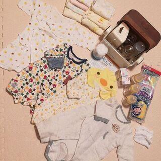 新生児哺乳瓶・電子レンジ除菌ケース・肌着・ロンパースセット