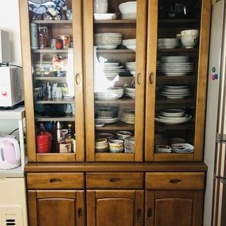 (差し上げます!)収納たっぷり木製食器棚 上下分離可能