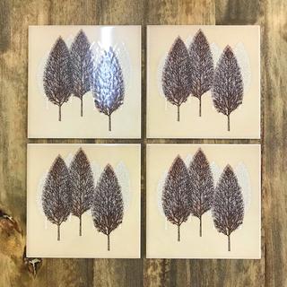 アウトレット図案装飾タイル Forest 大判 4枚