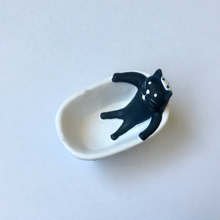 【半額値下げ】黒猫まったりお風呂小物入れ