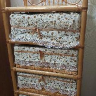 籐籠4段ラック  シェルフ