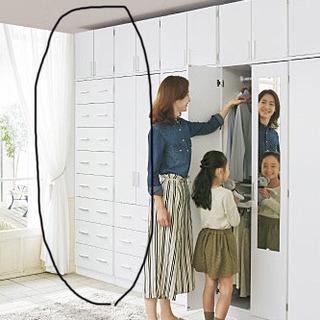 壁面収納★チェスト+上置き(ホワイト)幅60cm