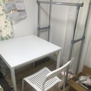 白い 四角い テーブル 椅子 セット 組み立て 取りに来てくださる方にお譲りします - 京都市