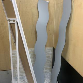 全身 姿見 鏡 3点セット ホワイト 貼り付け IKEA