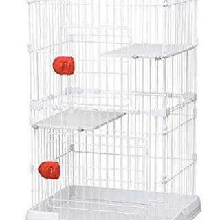 アイリス 猫ケージ ミニ 2段 ホワイト 幅69×高115cm