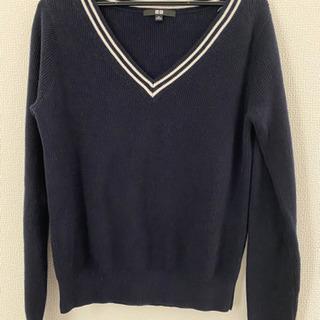 ユニクロ UNIQLO Vネックセーター カシミヤ5%混 紺 Mサイズ