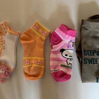 ジュニア 女の子 子供靴下 4枚 2枚未使用