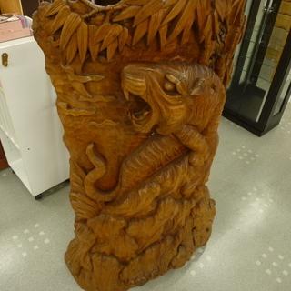 木彫りトラ 虎 の 木彫り 衝立:126cm モノ市場半田店【1...