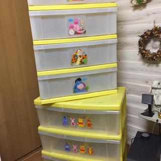 プーさん 子供用ラック 2個セット 4段時は3段 黄色桜坂 雙葉...