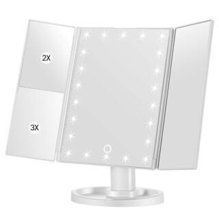 Newdora 化粧鏡 卓上ミラー LEDライト 22灯 三面鏡...