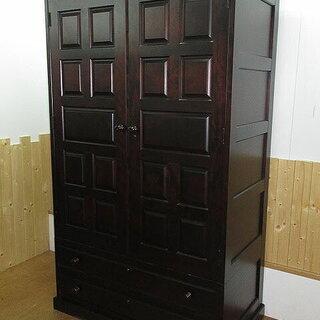 rk1376 北海道民芸家具 ワードローブ 衣装箪笥 木製 鍵2...