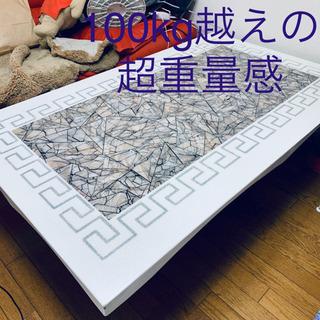 大理石風 ALL石製テーブル 100kg越えの超重厚感でゴージャ...