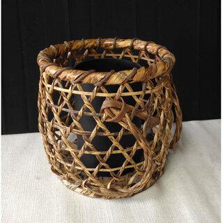 c636 竹籠 花入れ 竹編み籠 背負い籠形花入れ