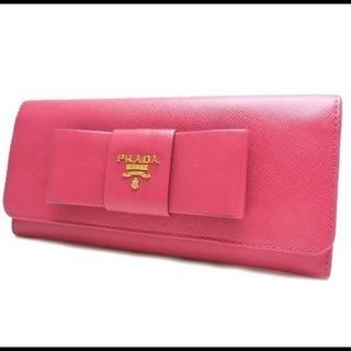 PRADA プラダ サフィアーノレザー 二つ折り長財布 リボン ピンク