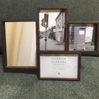 木目調フォトフレーム  鏡