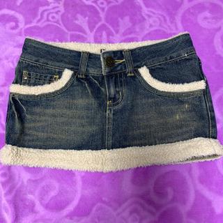 ボア付きジーンズミニスカート