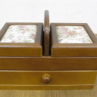 木製 ソーイングボックス 裁縫箱 手芸道具入れ 小物入れ ツール...