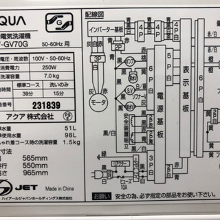 新生活応援!安心の1年保証付!AQUA 全自動洗濯機 【トレファク町田店 − 東京都