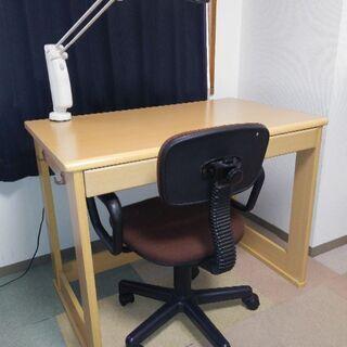 学習机、椅子、照明、引き出し4点セット 本棚1点おまけ