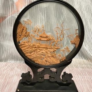 中国工芸品 コルク細工 飾り物 置物 丸型