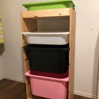 IKEA おもちゃ 収納 棚 ボックス4つ トロファスト